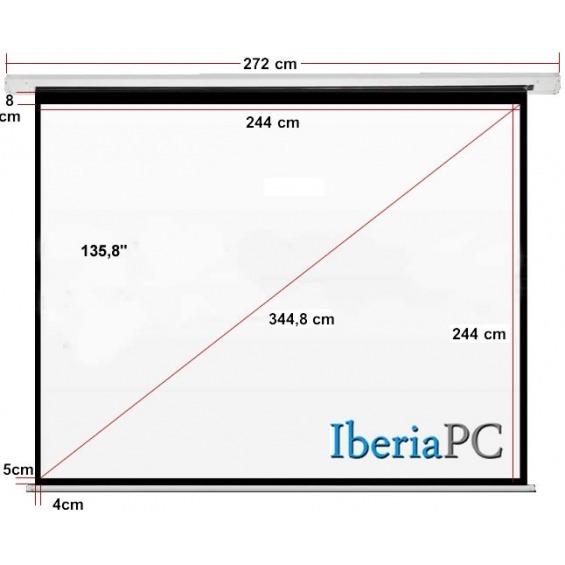 Pantalla proyector eléctrica 135,8 de 2440 x 2440 mm formato 1:1