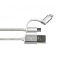 Klip Xtreme - USB cable - Apple Lightning / Micro-USB Type B - 4 pin USB Type A - 1 m - Aluminum silver - 2in1 Braided