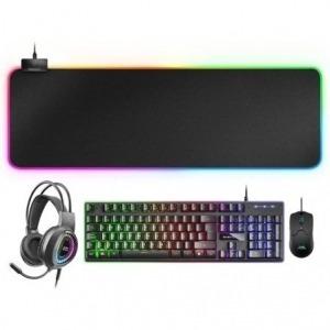 Pack Gaming Mars Gaming MCPEX/ Teclado H-MECH  + Ratón Óptico + Auriculares con Micrófono + Alfombrilla