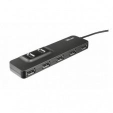 HUB TRUST OILA 7 PUERTOS USB - DISEÑO PLANO Y COMPACTO - 2 PUERTOS EN LA PARTE SUPERIOR Y 5 EN LA FRONTAL - INCLUYE ADAPTADOR TOMA ELECTRICA