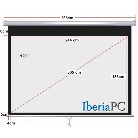 Pantalla proyector manual 120 de 2440 x 1830 mm formato 4:3