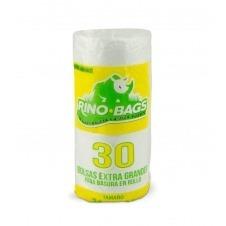 Bolsa AD Biodegradable Rino Bags Extra Grande Blanca 30x38x1.7, 30u