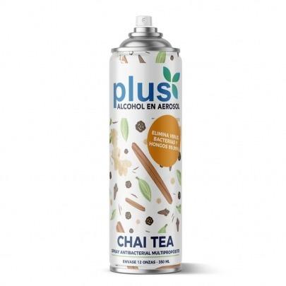 Alcohol en Aerosol Marca Plus Aroma Chai Tea 350ml