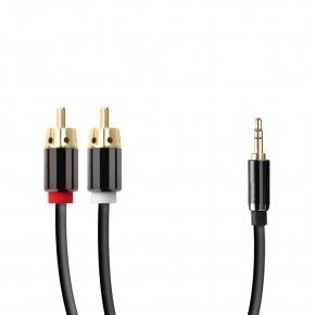 Cable jack 3.5mm a 2 rca apantallado 0.5m
