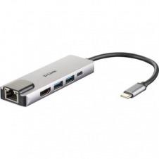 HUB USB-TIPO C 5 EN 1 D-LINK DUB-M520 - 2*USB 3.0 - 1*USB TIPO-C - 1*HDMI - 1*RJ45 - PLUG AND PLAY