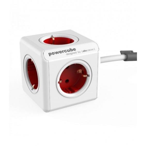 Toma enchufes PowerCube de 5 conexiones roja + cable de 1,5m
