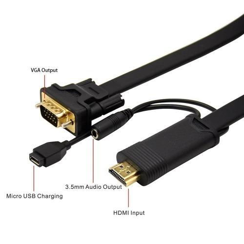 Cable conversor de HDMI a VGA de 2 m con audio