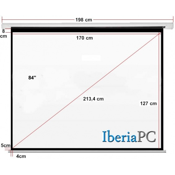 Pantalla proyector eléctrica 84 de 1700 x 1270 mm formato 4:3