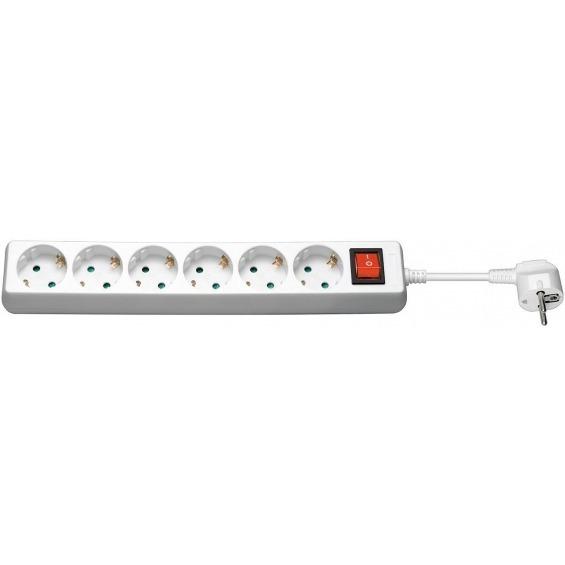 Regleta CA con interruptor 1,5 metros, blanca, 6 tomas