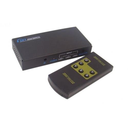 Conmutador / Switcher HDMI 3 inx1 out. Full HD 1080P. 3D