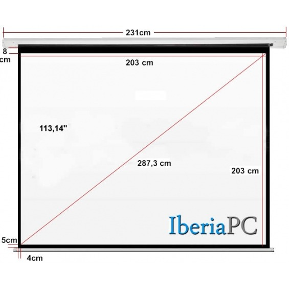 Pantalla proyector eléctrica 113,14 de 2030 x 2030mm formato 1:1