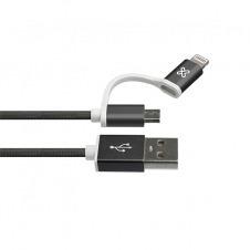 Klip Xtreme - USB cable - Apple Lightning / Micro-USB Type B - 4 pin USB Type A - 1 m - Black - 2in1 Braided