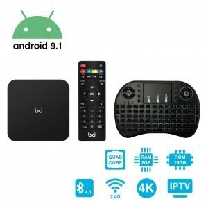 SmartTV Android 9.1 HDR 4K + Teclado Inalámbrico 2GB RAM 16GB ROM HomeBox Biwond