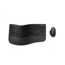 Microsoft - Keyboard and mouse set - Spanish - Wired - USB - Black - Ergonomic