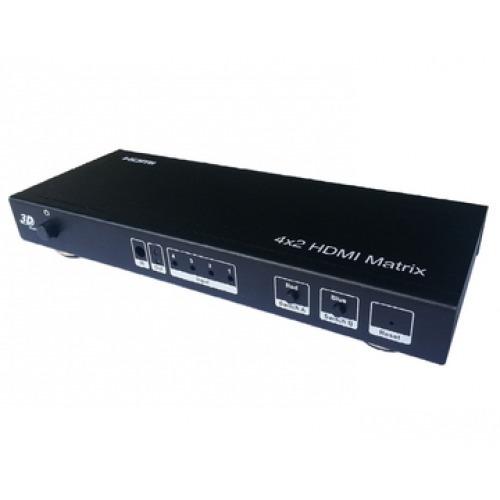 Matrix HDMI 4 entradas a 2 Salidas 4k x 2k