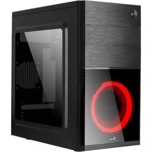 CAJA SEMITORRE AEROCOOL CS105RD - ATX - 1*5.25 / 2*3.5 / 1*2.5 - 1*USB 3.0/1*USB 2.0 - VENTILADOR LED ROJO