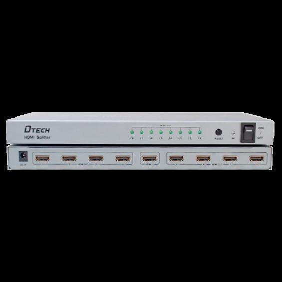 Multiplicador de señal HDMI - 1 entrada HDMI - 8 salidas HDMI - Hasta 4K*2 - Longitud máxima de salida 25 m - Alimentación DC 5 V