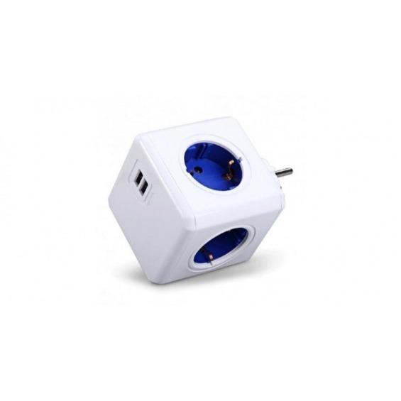 Toma enchufes PowerCube de 4 conexiones + 2 x USB de Carga