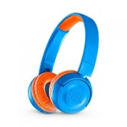 JBL JR300BT - Headphones with mic - on-ear - Bluetooth - wireless - orange/blue