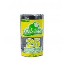 Bolsa AD Biodegradable Rino Bags Grande Negra 24x36x1.7, 25u
