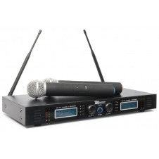 PD732H 2x 16 Canales UHF Micro Inalambrico True Diversity con 2 Microfonos