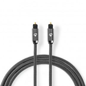 Cable de audio óptico   TosLink Male   TosLink Male   1.00 m   Redondo   Tela de Algodón   Gris Gunmetal / Gunmetal   Caja de ventana
