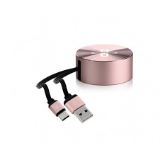 Klip Xtreme - USB-C cable - 24 pin USB-C - 4 pin USB Type A - 1 m - Rose gold - retractable