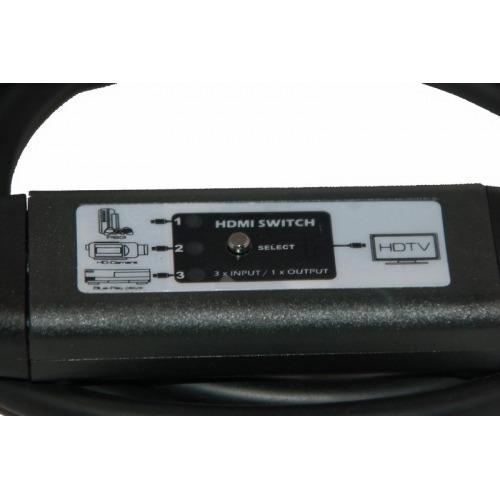 Conmutador en cable 2 x HDMI macho + 1 x HDMI hembraa HDMI macho