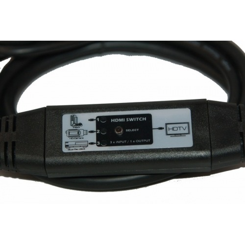 Conmutador en cable 1 x HDMI macho + 1 x Mini HDMI macho +1 x HDMI hembraa HDMI macho