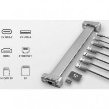 HUB / BASE MULTIPUERTO TRUST DALYX ALUMINIUM - 1 CONECTOR USB TIPO-C PROVEE HDMI / LAN GIGABIT / LECTOR MICRO/SD / 4+USB-A / USB TIPO-C