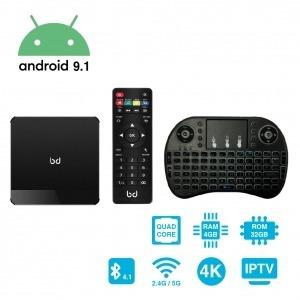 SmartTV Android 9.1 HDR 4K + Teclado Inalámbrico 4GB RAM 32GB ROM HomeBox Pro Biwond