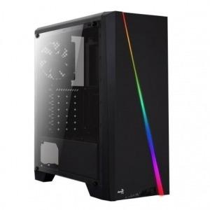 CAJA SEMITORRE ATX/MINI-ITX AEROCOOL CYLON - LED RGB - INT 2*3.5/2*2.5 - 1*USB 3.0/2*USB 2.0 + HD AUDIO/MIC + LECTOR MICROSD/SD - VENT 120MM - NEGRA