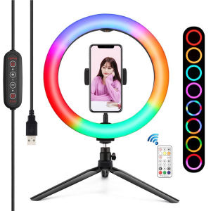 "Kit Youtuber BGD007 Base + Soporte Smartphone + Luz 10"" 26CM RGB XO"
