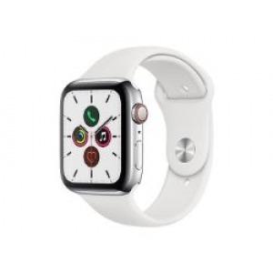 Apple Watch Series 5 GPS 44mm + Cellular Acero Inoxidable Plata con Correa Deportiva Blanca