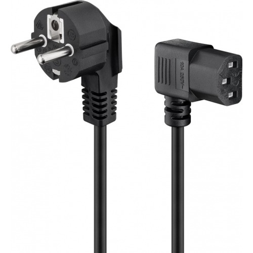 Cable alimenta. Schuko-C13 90º negro 5m