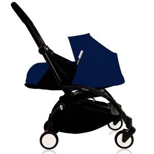 Cochecito Babyzen Yoyo 0+: Silla de Paseo YOYO+ color pack 6+ + Set recién nacido chasis negro y tapizado Air France