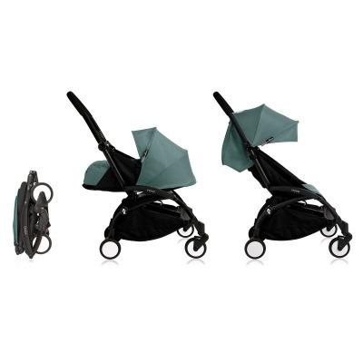 Cochecito Babyzen Yoyo 0+: Silla de Paseo YOYO+ color pack 6+ + Set recién nacido chasis negro y tapizado Aqua