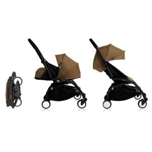 Cochecito Babyzen Yoyo 0+: Silla de Paseo YOYO+ color pack 6+ + Set recién nacido chasis negro y tapizado Toffee