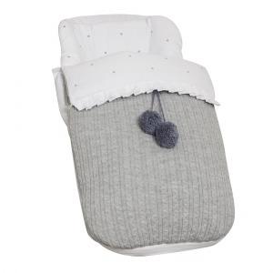 Saco de silla Pompones Gris
