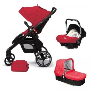 Cochecito de bebé Casualplay Loop Match 3 + Portabebés Baby 0+ + Casualplay Cot + Bolso Raspberry