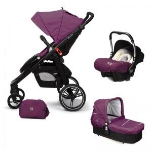 Cochecito de bebé Casualplay Loop Match 3 + Portabebés Baby 0+ + Casualplay Cot + Bolso Plum
