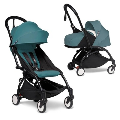 Cochecito Babyzen YOYO² 0+: Silla de Paseo YOYO²+ Silla Grupo 0 iZi Go Modular by BeSafe + Set recién nacido chasis Negro y tapizado