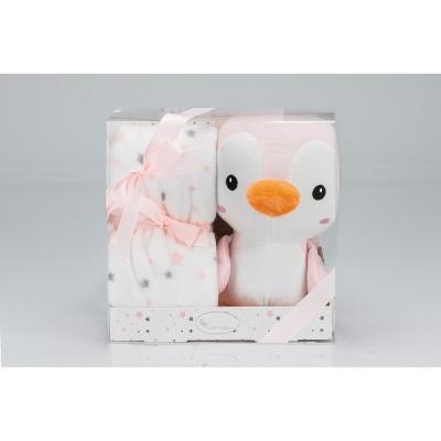 Manta Interbaby con Muñeco Pingüino rosa