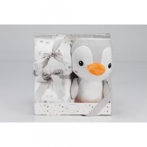 Manta Interbaby con Muñeco Pingüino Gris