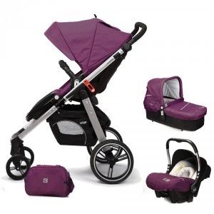 Cochecito de bebé Casualplay Loop Match 3 Aluminio + Portabebés Baby 0+ + Casualplay Cot + Bolso Plum