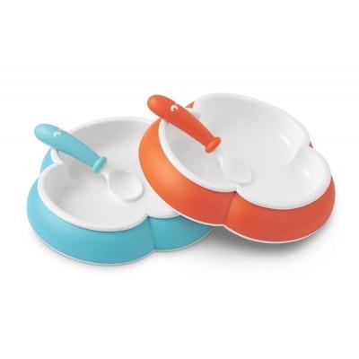 2 Platos y 2 Cucharas Babybjorn Turquesa Naranja