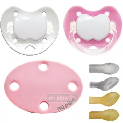 Pack 2 Chupetes con Broche Personalizados Pink 0-6 Meses