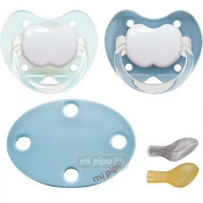 Pack 2 Chupetes con Broche Personalizados Super Blue 0-6 Meses