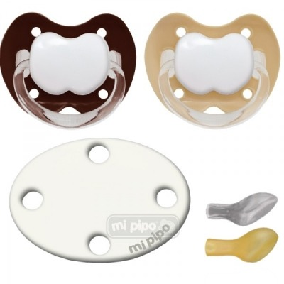Pack 2 Chupetes con Broche Personalizados Cream 0-6 M