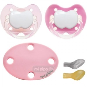 Pack 2 Chupetes con Broche Personalizados Super Pink +6 Meses